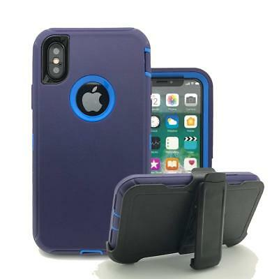 For Apple iPhone XS/XR/XS MAX,Defender Shockproof Case w/ Clip Fit Otterbox Navy