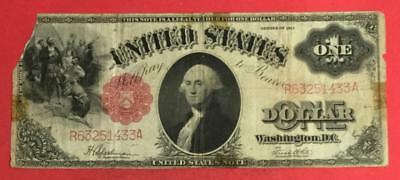"""1917 $1 RED US Legal Tender """"LARGE SIZE"""" """"SAWHORSE"""" Rough Currency"""