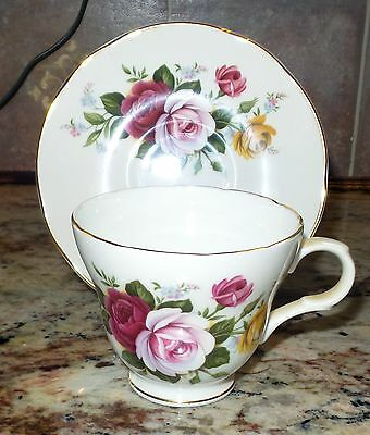 Vintage Crown Trent Fine Bone China Cup & Saucer, Roses, Staffordshire England