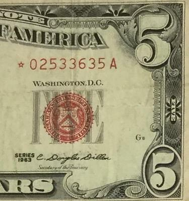 1963 $5 RED US LEgal Tender *** STAR *** X635 FINE! Old US Paper Money Currency