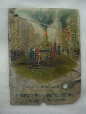 Rare 1893 Fireman's Protective Association 4Th Annual Ball Program Nfpa Forerunn