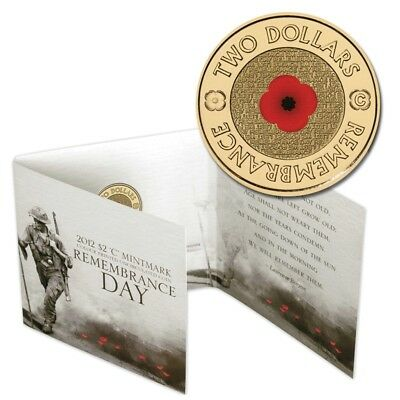 2012 Ram Colour Printed Uncirculated $2 Coin 'c' Mintmark - Remembrance Day