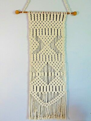 Vintage Natural White Macrame Wall Hanging Long Mid Century Modern Woven Rope