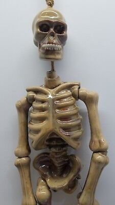 Vtg Ceramic Halloween Hanging Skeleton Bones Skull Glazed Pottery Decoration