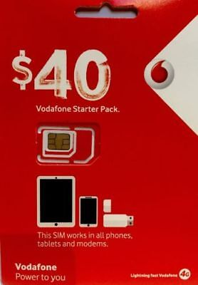 Vodafone $40 TRIO SIM  (ALL DEVICES) 45 GB DATA ULTD calls/txt oz