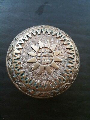 Antique Eastlake Victorian Brass Bronze Door Knob Flower D - 10900 c.1885