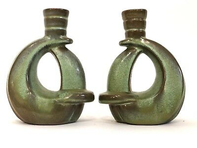 Vintage Frankoma Red Clay Pottery 305 Green Moss Brown Candle Holders 5.5""