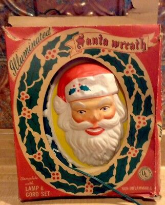 Vntg Glolite Christmas Lighted Plastic Santa Claus Oval Mid Century 1950's w/Box