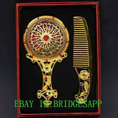 Chinese Antique Brass Hollow Carved  Makeup Mirror & Comb Set Gift Box A25