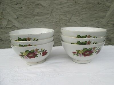 Vintage Porcelain Chinese Rice Soup Bowls ~ Set of 6 ~ Floral ~ Chinese Markings