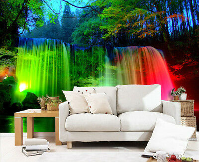 3D Forest Waterfall Self-adhesive Removable Wallpaper Wall Mural Sticker