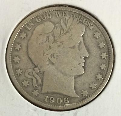 1906 US Barber SILVER Half Dollar! Very Good! Old US Coin!