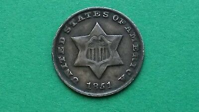 Very Rare Breen 2907  1851-O 3CS Three Cent Silver - Dash After Date
