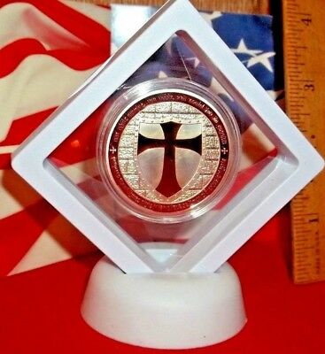3-D Red Cross Masonic Knights Templar Silver Plated Commemorative ARt-Coin / New
