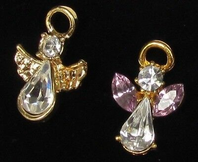 Lot Of Two Guardian Angels Tie Tac Lapel Pins Pink And Clear Rhinestones Gold To