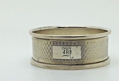 Sterling Silver Napkin Ring Stylized H Monogram Initial Letter  Engine Turned