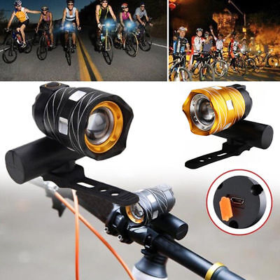 Bike Bicycle Lights USB LED Rechargeable Mountain Front Warning Headlight Lamp T