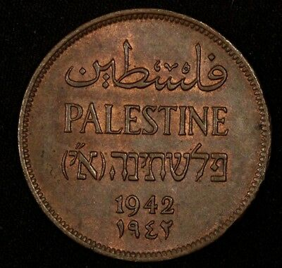 PALESTINE 2 Mils 1942 KM-2 Coin #3 Almost Uncirculated A.Unc
