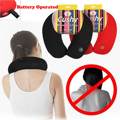 U Shaped Travel Pillow Neck Massage Cushion Battery Operated Stress Bead Relief Travel Pillows Health Care