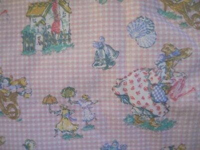 "VTG 1994 Laura Ashley Curtains Drapes GIRLS PK Gingham ""Contrary Mary's Shells"""
