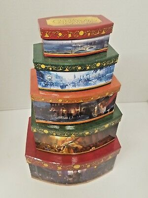 Disney's A Christmas Carol Stacking Present Box Set of 5 Stringer's Gift Baskets