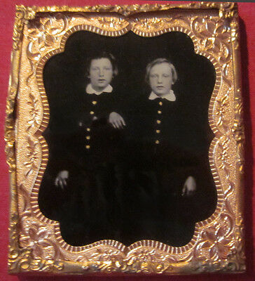 Two Brothers Black Back Glass Ambrotype