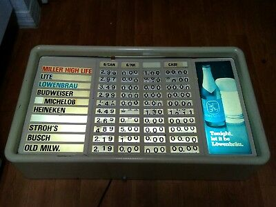 "RARE! Lowenbrau Lighted Menu/Price Sign. Rolling Numbers. 30"" x 17"" x 6"""