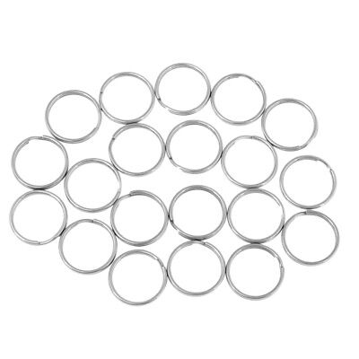 20x Stainless Steel Split Keyring Round Edged Circular Keychain Open Jump Ring