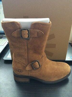 98adfb71d0b NEW WOMENS UGG Chaney Black Water Resistant Suede Shearling Buckle ...