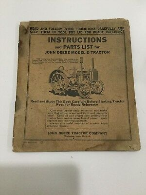Original Vintage John Deere Model D Tractor Manual ! Must See