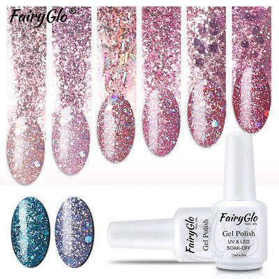 FairyGlo Glitter Sequined UV LED Gel Nail Polish Varnish Lacquer Soak Off Colors