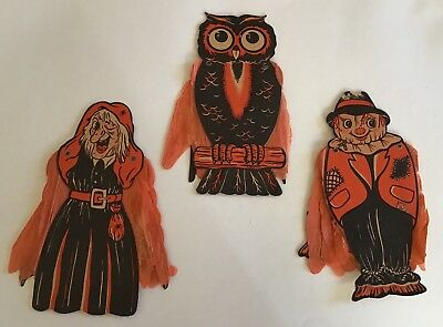 3 - Vintage Halloween Mechanical Die Cut Witch Scarecrow Owl Tissue Paper Arms