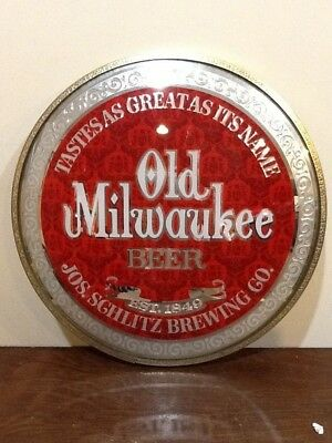 """Vintage Old Milwaukee """"taste As Great As It Sounds"""" Bubble Glass Beer Sign"""