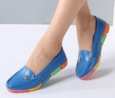 Women Ballerina Flats Casual Shoes Leather Slip On Ballet Ladies Soft Moccasins