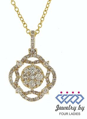 Solid Real Natural Diamond 14K Yellow Gold 0.51CT Fancy Pendant For Woman