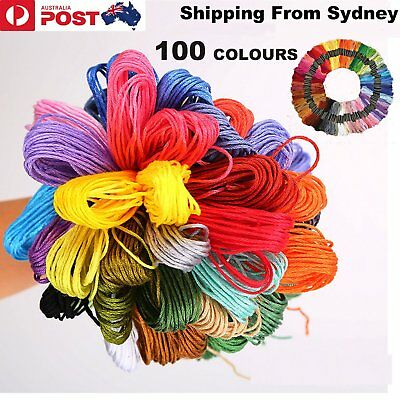 100 Colours Egyptian Cotton Embroidery Cross Stitch Thread Floss Sewing Skeins A