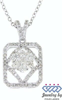 Solid Real Natural Diamond 14K White Gold 0.62CT Fancy Pendant For Woman