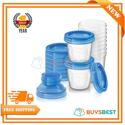 Philips Avent Reusable Breast Milk Storage Cups With Lids Pack of 10 - SCF618/10