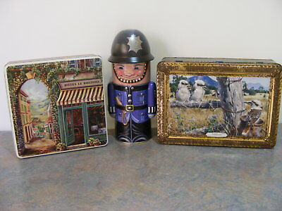 3 Collectable Tins - G Hanley Kookaburras, French Street Scene, English Bobby