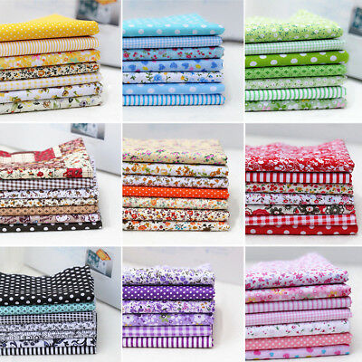 7Pcs/Pack Colourful Cotton Fabric Assorted Pre Cut Fat Quarters Bundle 25*25cm