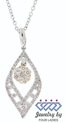 Solid Real Natural Diamond 14K Multi-Tone Gold 0.55CT Fancy Marquise Pendant
