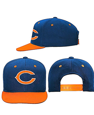 REEBOK CAP NFL Chicago Bears Flat Brim Navy Blue Orange C Fitted Hat ... 589e3e1988d3