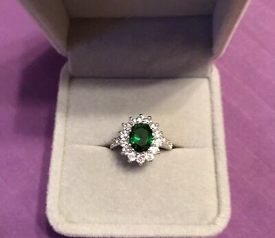 3.26 CTW Emerald & CZ 14K White Gold Finish Ring 2-Size 6/  2-Size 7 SALE