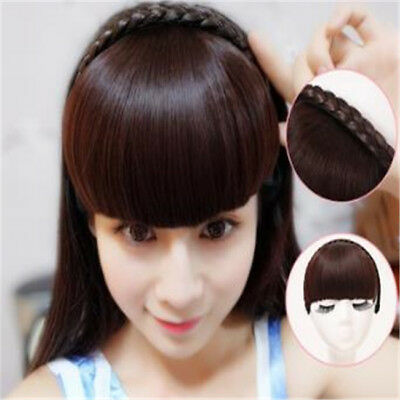 Fashion Hair Bangs with a Braided Hairband Straight Sides Long Flat Fringes N7