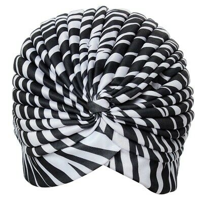 1X(Bonnet Hat Turban pleated Wrap Head Indian Scarf extensible fabric for w W2K0