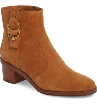 942d4a7d6be NIB  398 Tory Burch Marsden 50mm Double-ring T logo Tan Suede Bootie Size 8M