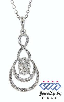 Solid Real Natural Diamond 14K White Gold 0.54CT Fancy Pendant For Jewelry