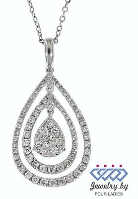 Solid Real Natural Diamond 14K White Gold 0.88CT Fancy Pendant Jewelry