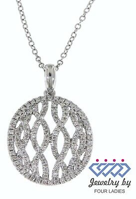 Solid Real Natural Diamond 14K White Gold 0.58CT Fancy Designer Pendant Jewelry