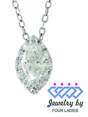 Real Natural Halo Marquise Diamond 14K White Gold 0.57CT Fancy Pendant Jewelry